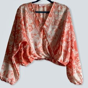 Pink Lily Floral Coral Cropped Surplice Long Sleeved Top NWOT